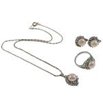 Natyrore kulturuar Pearl ujërave të ëmbla bizhuteri Sets, Pearl kulturuar ujërave të ëmbla, with Diamant i rremë, Kube, natyror, trëndafili dritë, 15x19.5x13mm, 21.5x31x14mm, 15x17x23mm, : 19mm, :9, :15.5Inç,  Kuti