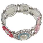Zinklegierung Armband, mit elastischer Faden & Glas & Harz, Emaille & mit Strass, frei von Nickel, Blei & Kadmium, 27x2mm, verkauft per 7 ZollInch Strang