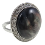 Zink Alloy Ring Finger, Alloy zink, with Rrëshirë, Oval, ngjyrë platin praruar, me diamant i rremë, asnjë, , nikel çojë \x26amp; kadmium falas, 31x26x26mm, : 19mm, :9, 12PC/Qese,  Qese