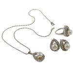 Natyrore kulturuar Pearl ujërave të ëmbla bizhuteri Sets, Pearl kulturuar ujërave të ëmbla, with Diamant i rremë, Kube, natyror, e bardhë, 17x25x11mm, 20x29.5x22mm, 17x22.5x23mm, : 16.5mm, :5.5, :16.5Inç, 12Sets/Kuti,  Kuti
