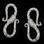 Kapje 925 Sterling Silver Hook S, Shape Tjera, i praruar, asnjë, argjend, 10x20x3mm, 10PC/Qese,  Qese