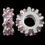 925 Sterling Silver Beads European, Rondelle, argjend praruar vërtetë, pa karrem & me zirconia kub, trëndafili dritë, 4.80x12.50mm, : 4.7mm, 3PC/Qese,  Qese