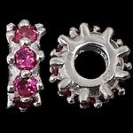 925 Sterling Silver Beads European, Rondelle, argjend praruar vërtetë, pa karrem & me zirconia kub, kuqe purplish, 4.80x12.50mm, : 4.7mm, 3PC/Qese,  Qese