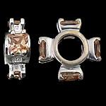 925 Sterling Silver Beads European, Kryq, argjend praruar vërtetë, pa karrem & me zirconia kub, portokall, 12x12x4mm, : 4.6mm, 5PC/Qese,  Qese