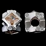 925 Sterling Silver Beads European, Shape Tjera, argjend praruar vërtetë, pa karrem & me zirconia kub, portokalli qartë, 10x10x8.50mm, : 4.5mm, 3PC/Qese,  Qese