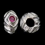 925 Sterling Silver Beads European, Rondelle, argjend praruar vërtetë, pa karrem & me zirconia kub, kuqe purplish, 12.50x7mm, : 5.2mm, 3PC/Qese,  Qese