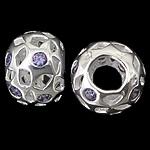 925 Sterling Silver Beads European, Rondelle, argjend praruar vërtetë, pa karrem & me zirconia kub, purpurtë drita, 12.50x9mm, : 4.8mm, 3PC/Qese,  Qese