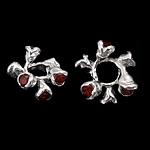 925 Sterling Silver Beads, Lule, argjend praruar vërtetë, me zirconia kub, i kuq, 12x5.50mm, : 4.3mm, 5PC/Qese,  Qese