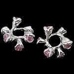 925 Sterling Silver Beads, Lule, argjend praruar vërtetë, me zirconia kub & vrimë e madhe, rozë, 12x5.50mm, : 4.3mm, 5PC/Qese,  Qese