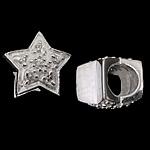 925 Sterling Silver Beads European, Yll, argjend praruar vërtetë, pa karrem & me zirconia kub, asnjë, 12x9mm, : 5.3mm, 3PC/Qese,  Qese