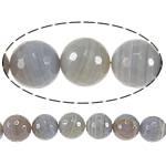 Natyrore Gri Beads agat, Grey agat, Round, asnjë, makinë faceted & shirit, 12mm, : 1.5mm, :15Inç, 5Fillesat/Shumë,  Shumë