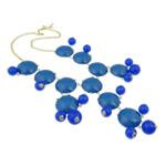 Mode Statement Halskette, Zinklegierung, mit Harz & Eisen, Zinklegierung Karabinerverschluss, goldfarben plattiert, blau, frei von Nickel, Blei & Kadmium, 32x33x9mm, verkauft per 18.5 ZollInch Strang