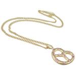 Zinklegierung Schmuck Halskette, mit Eisen, Zinklegierung Karabinerverschluss, Herz, goldfarben plattiert, mit Strass, frei von Nickel, Blei & Kadmium, 45x32x6mm, verkauft per 23.5 ZollInch Strang