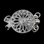 925 Sterling Silver Box kapje, Round Flat, argjend praruar vërtetë, 2-fije floku & i uritur, asnjë, 11x11x5mm, 5PC/Qese,  Qese