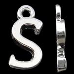 Pendants alfabet Zink Alloy, Alloy zink, Letër, Ngjyra argjend praruar, asnjë, asnjë, , nikel çojë \x26amp; kadmium falas, 15.50x7.50x2mm, : 2mm, 10PC/Qese,  Qese