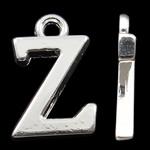 Pendants alfabet Zink Alloy, Alloy zink, Letër, Ngjyra argjend praruar, asnjë, asnjë, , nikel çojë \x26amp; kadmium falas, 15.50x10x2mm, : 2mm, 10PC/Qese,  Qese