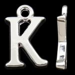 Zinklegierung Buchstaben Anhänger, silberfarben plattiert, frei von Nickel, Blei & Kadmium, 15.50x10x2mm, Bohrung:ca. 2mm, 10PCs/Tasche, verkauft von Tasche