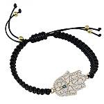 Hamsa Bracelets, Alloy zink, with Cord Wax, Dorë, punuar me dorë, me rrëshirë diamant i rremë & smalt, asnjë, , nikel çojë \x26amp; kadmium falas, 37x22x3mm, : 7.5Inç,  7.5Inç,