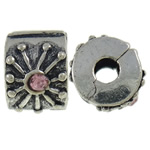 Alloy zink European Clip, Rondelle, Ngjyra antike argjendi praruar, me diamant i rremë, asnjë, , nikel çojë \x26amp; kadmium falas, 11x7x9.60mm, : 3mm, 10PC/Qese,  Qese