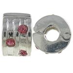 Tunxh European Clip, Rondelle, ngjyrë platin praruar, me diamant i rremë, asnjë, , nikel çojë \x26amp; kadmium falas, 9.40x5.80x9mm, : 3mm, 10PC/Qese,  Qese