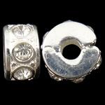Tunxh European Clip, Rondelle, Ngjyra argjend praruar, me diamant i rremë, asnjë, , nikel çojë \x26amp; kadmium falas, 10.80x5.70x10.80mm, : 3.5mm, 10PC/Qese,  Qese
