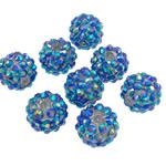 Beads diamant i rremë Rrëshirë, Rrëshirë diamant i rremë, Daulle, Ngjyra AB kromuar, asnjë, blu, 12x14mm, : 2.5mm, 100PC/Qese,  Qese