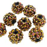 Harz Strass Perlen, Trommel, AB Farben platiniert, goldgelb, 12x14mm, Bohrung:ca. 2.5mm, 100PCs/Tasche, verkauft von Tasche