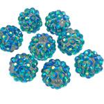 Beads diamant i rremë Rrëshirë, Rrëshirë diamant i rremë, Daulle, Ngjyra AB kromuar, asnjë, dritë blu, 12x14mm, : 2.5mm, 100PC/Qese,  Qese