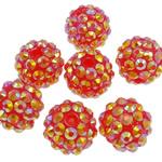 Beads diamant i rremë Rrëshirë, Rrëshirë diamant i rremë, Daulle, Ngjyra AB kromuar, asnjë, kuq pak portokalli, 12x14mm, : 2.5mm, 100PC/Qese,  Qese