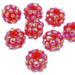 Harz Strass Perlen, Trommel, AB Farben platiniert, Purpurrot, 10x12mm, Bohrung:ca. 2mm, 100PCs/Tasche, verkauft von Tasche