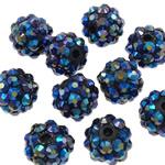 Beads diamant i rremë Rrëshirë, Rrëshirë diamant i rremë, Daulle, Ngjyra AB kromuar, asnjë, blu të errët, 10x12mm, : 2mm, 100PC/Qese,  Qese