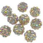 Beads diamant i rremë Rrëshirë, Rrëshirë diamant i rremë, Daulle, Ngjyra AB kromuar, asnjë, drita e verdhë, 10x12mm, : 2mm, 100PC/Qese,  Qese