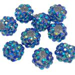 Beads diamant i rremë Rrëshirë, Rrëshirë diamant i rremë, Daulle, Ngjyra AB kromuar, asnjë, blu, 10x12mm, : 2mm, 100PC/Qese,  Qese