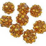 Beads diamant i rremë Rrëshirë, Rrëshirë diamant i rremë, Daulle, asnjë, i tejdukshëm, i verdhë, 10x12mm, : 2mm, 100PC/Qese,  Qese