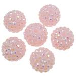 Beads diamant i rremë Rrëshirë, Rrëshirë diamant i rremë, Daulle, Ngjyra AB kromuar, asnjë, rozë, 16x18mm, : 2.5mm, 100PC/Qese,  Qese