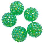 Harz Strass Perlen, Trommel, AB Farben platiniert, grün, 16x18mm, Bohrung:ca. 2.5mm, ca. 100PCs/Tasche, verkauft von Tasche