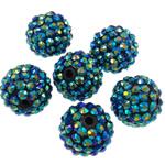 Beads diamant i rremë Rrëshirë, Rrëshirë diamant i rremë, Daulle, Ngjyra AB kromuar, asnjë, jeshile të thellë, 16x18mm, : 2.5mm, 100PC/Qese,  Qese