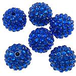 Harz Strass Perlen, Trommel, transluzent, blau, 16x18mm, Bohrung:ca. 2.5mm, 100PCs/Tasche, verkauft von Tasche