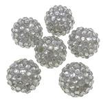 Harz Strass Perlen, Trommel, transluzent, hellgrau, 16x18mm, Bohrung:ca. 2.5mm, 100PCs/Tasche, verkauft von Tasche