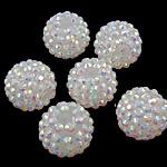 Beads diamant i rremë Rrëshirë, Rrëshirë diamant i rremë, Daulle, Ngjyra AB kromuar, asnjë, e bardhë, 16x18mm, : 2.5mm, 100PC/Qese,  Qese