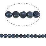 Barok Beads kulturuar Pearl ujërave të ëmbla, Pearl kulturuar ujërave të ëmbla, Nuggets, i lyer, blu, 8-9mm, : 0.8mm, : 14.5Inç,  14.5Inç,
