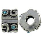 Tunxh European Clip, Rondelle, Ngjyra antike argjendi praruar, me diamant i rremë, asnjë, , nikel çojë \x26amp; kadmium falas, 8.80x6.50x9.60mm, : 3.5mm, 10PC/Qese,  Qese