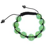 Rrëshirë Shamballa Bracelets, Round, punuar me dorë, me diamant i rremë, Gjelbër fier, 14.5mm, : 7.5Inç,  7.5Inç,