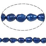 Barok Beads kulturuar Pearl ujërave të ëmbla, Pearl kulturuar ujërave të ëmbla, Nuggets, i lyer, blu, 6-7mm, : 0.8mm, : 14.5Inç,  14.5Inç,