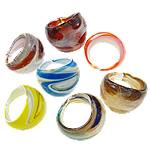 Ring Finger lampwork, Shape përziera, punuar me dorë, petë argjendi, ngjyra të përziera, 22-25mm, : 19mm, :9, 24PC/Kuti,  Kuti