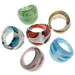 Ring Finger lampwork, Shape përziera, punuar me dorë, petë argjendi, ngjyra të përziera, 22-24.5mm, : 18mm, :8, 24PC/Qese,  Qese