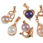 Pendants Pearl ujërave të ëmbla, Pearl kulturuar ujërave të ëmbla, with Diamant i rremë & Tunxh, Shape përziera, natyror, ngjyra të përziera, 9-10mm, 19x17.5-24x13mm, : 4mm,  PC