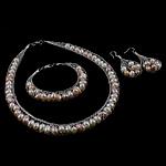 Natyrore kulturuar Pearl ujërave të ëmbla bizhuteri Sets, Pearl kulturuar ujërave të ëmbla, with Tunxh, Shape Tjera, asnjë, ngjyra të përziera, 14mm, 12mm, 61x24mm, :15.7Inç,  I vendosur