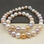 925 Sterling Silver gjerdan perlash, Pearl kulturuar ujërave të ëmbla, Round, natyror, ngjyra të përziera, 8.5-9mm, :43cm,  43cm,