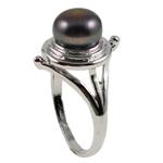 Ujërave të ëmbla Pearl Ring Finger, Pearl kulturuar ujërave të ëmbla, with Tunxh, Shape Tjera, natyror, e zezë, 21x30x18.50mm, : 18.5mm, :8.5, 10PC/Qese,  Qese